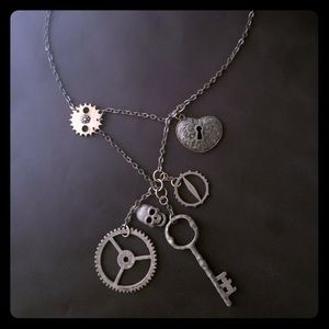 Jewelry - Steampunk Cog, key and skull necklace
